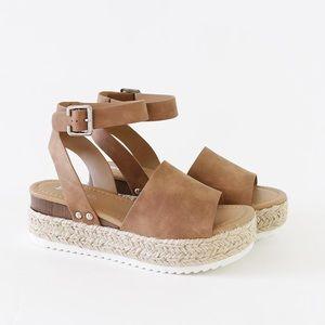Sz 6 ankle strap jute flatform sandal espadrilles